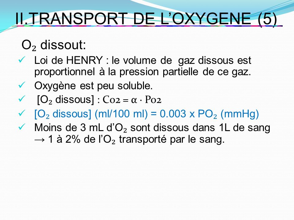 II.TRANSPORT DE L'OXYGENE (5)
