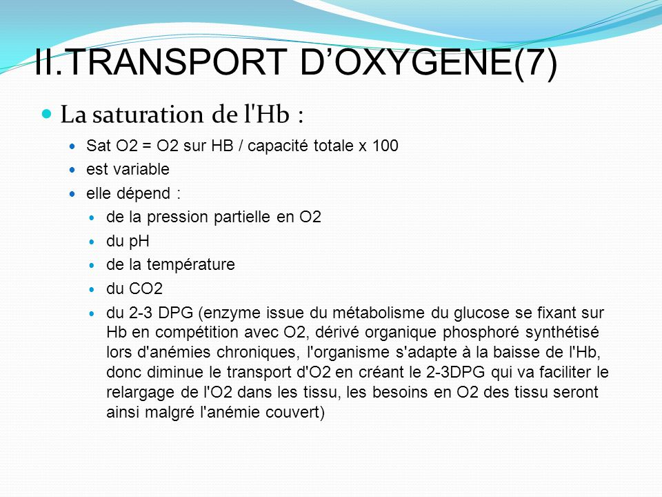 II.TRANSPORT D'OXYGENE(7)
