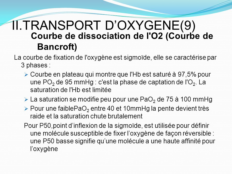 II.TRANSPORT D'OXYGENE(9)
