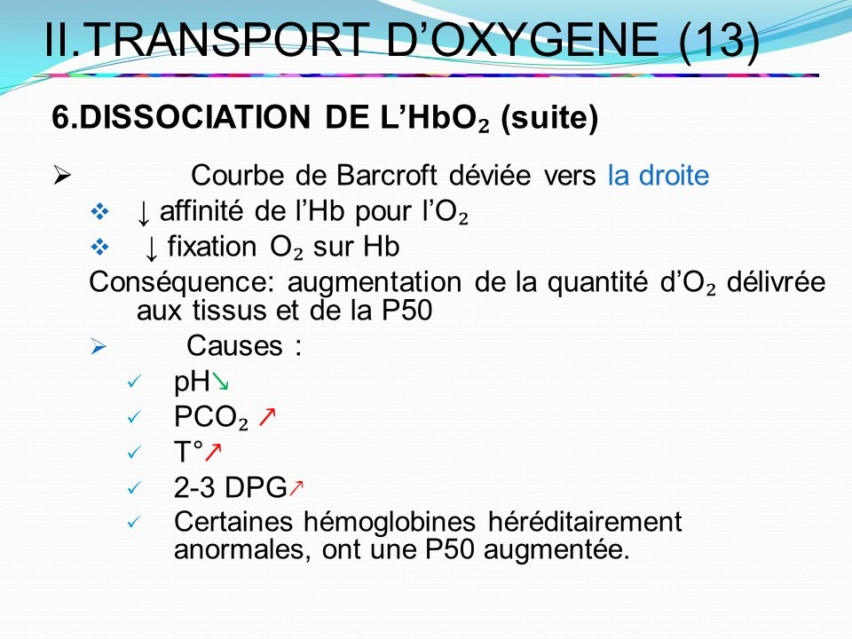 II.TRANSPORT D'OXYGENE (13)
