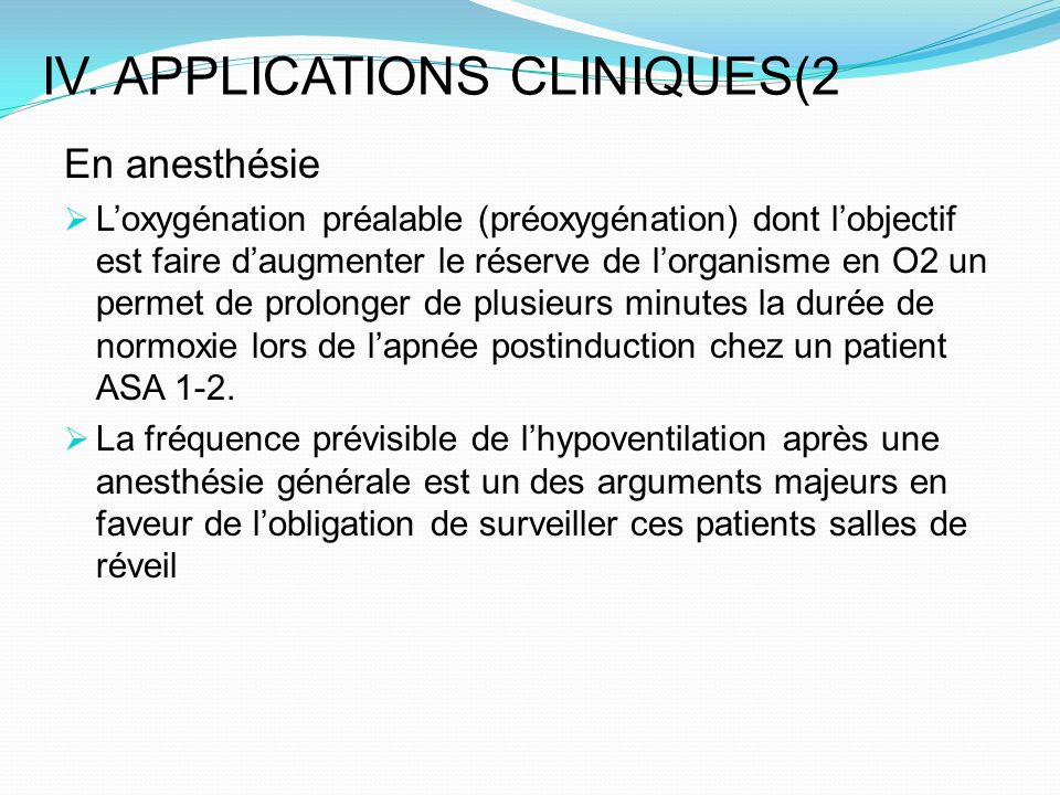 IV. APPLICATIONS CLINIQUES(2