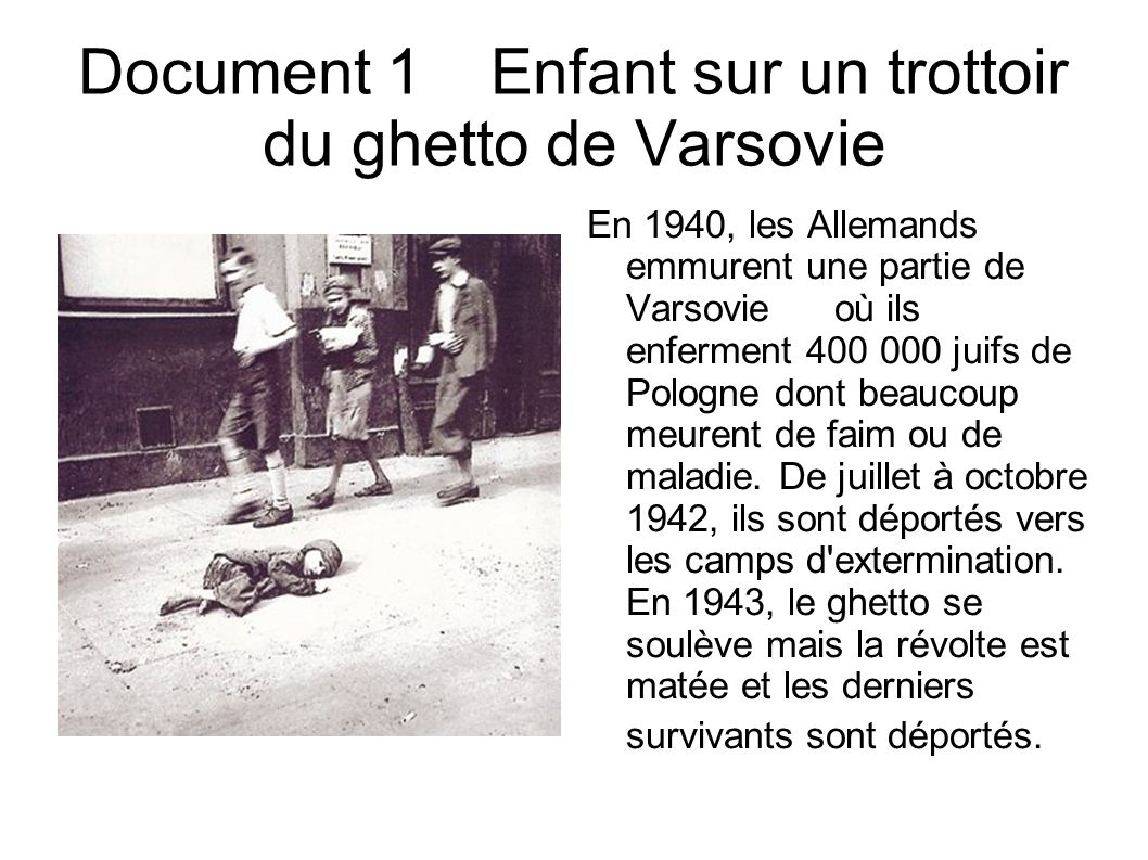 Document 1 Enfant sur un trottoir du ghetto de Varsovie