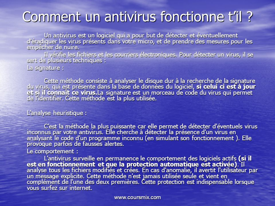 Comment un antivirus fonctionne t'il