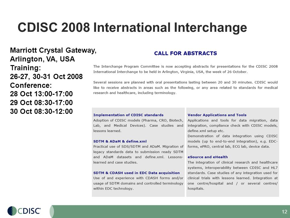CDISC 2008 International Interchange