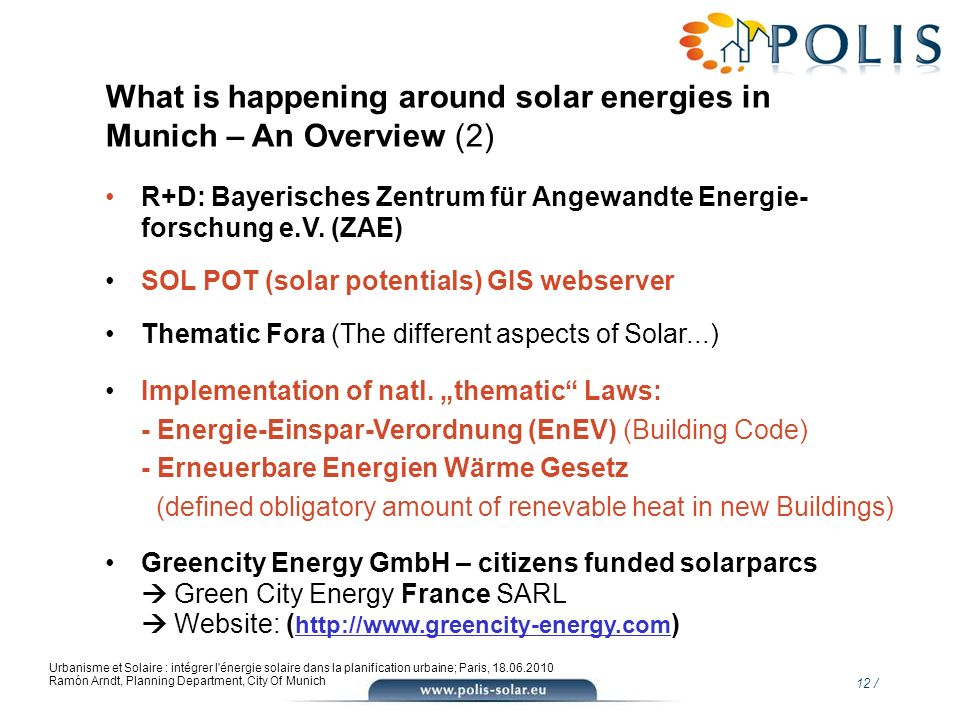 What is happening around solar energies in Munich – An Overview (2)