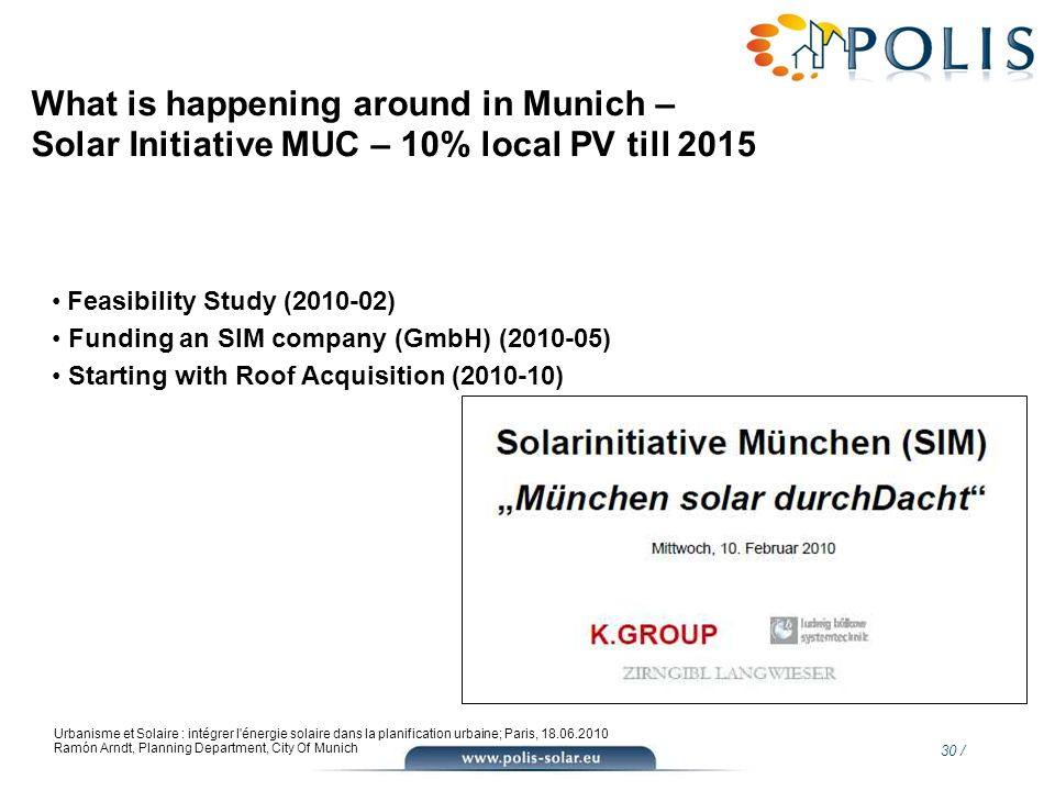 What is happening around in Munich – Solar Initiative MUC – 10% local PV till 2015