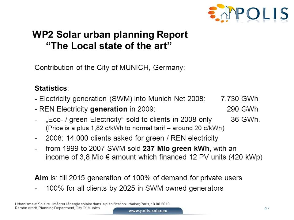 WP2 Solar urban planning Report The Local state of the art