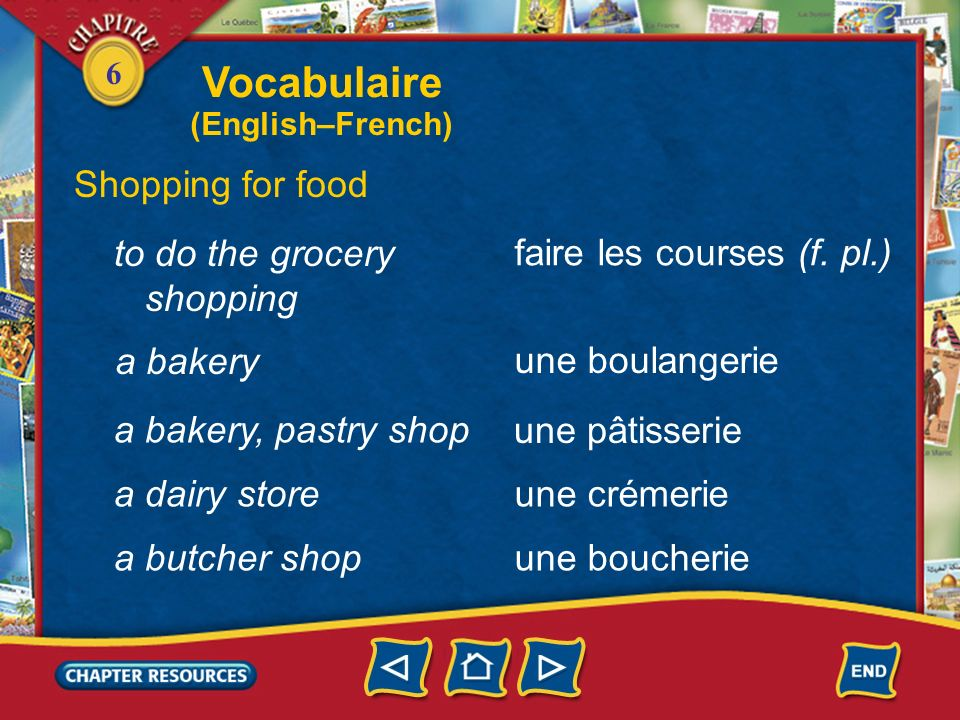 Vocabulaire Shopping for food to do the grocery shopping