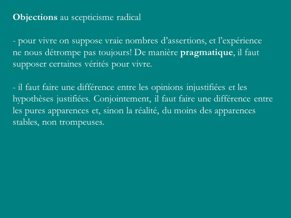 Objections au scepticisme radical