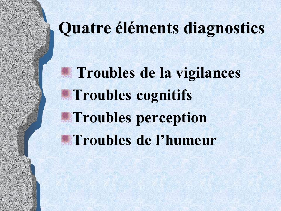 Quatre éléments diagnostics