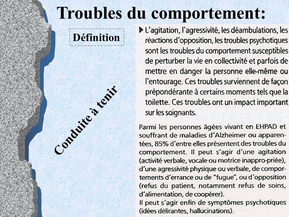 Troubles du comportement: