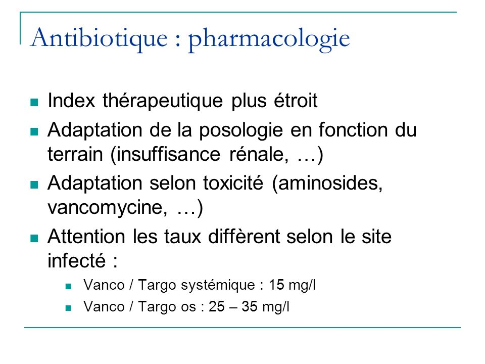 Antibiotique : pharmacologie