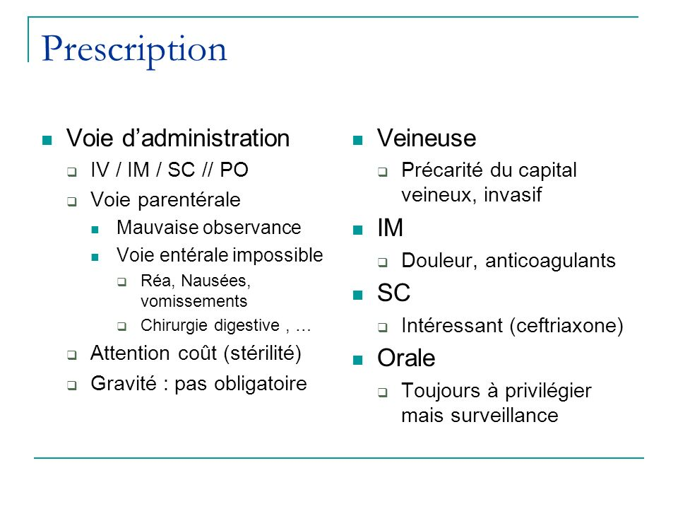 Prescription Voie d'administration Veineuse IM SC Orale