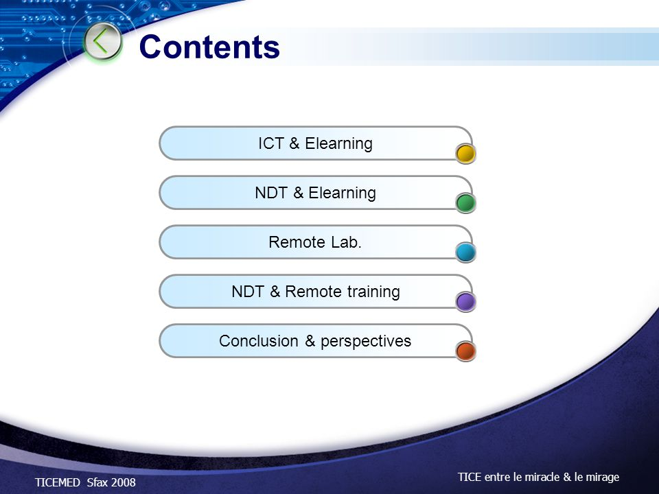 Contents ICT & Elearning NDT & Elearning Remote Lab.