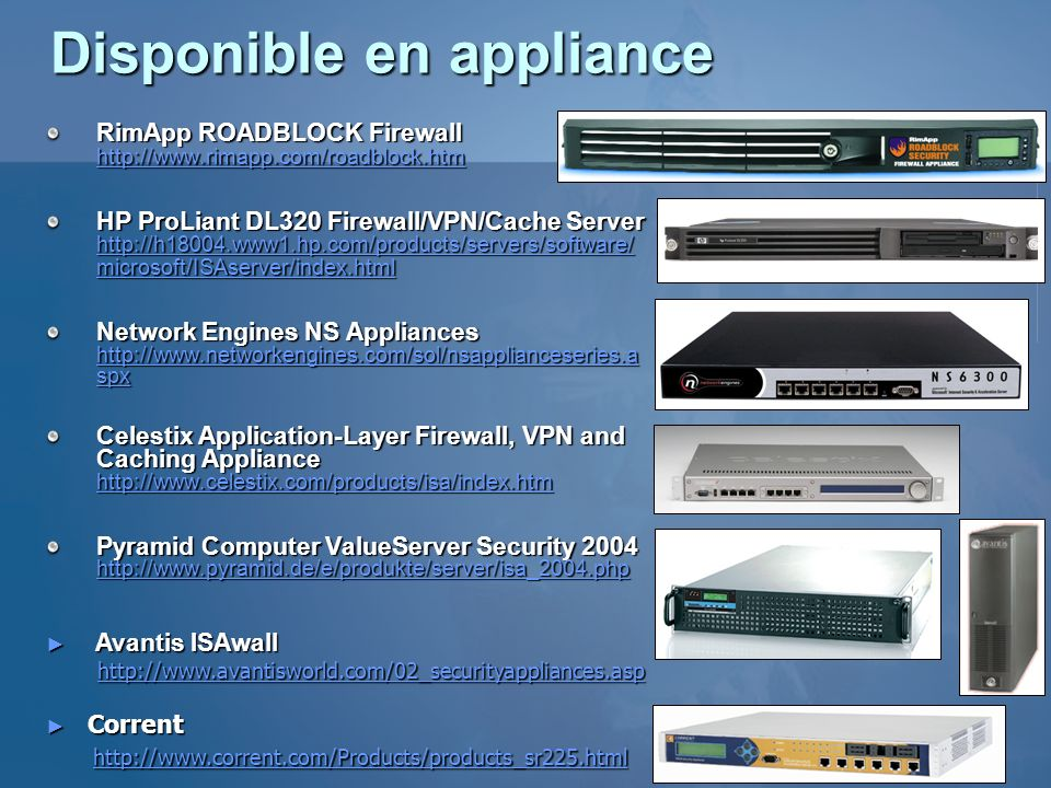 Disponible en appliance