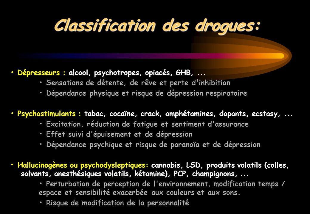 Classification des drogues: