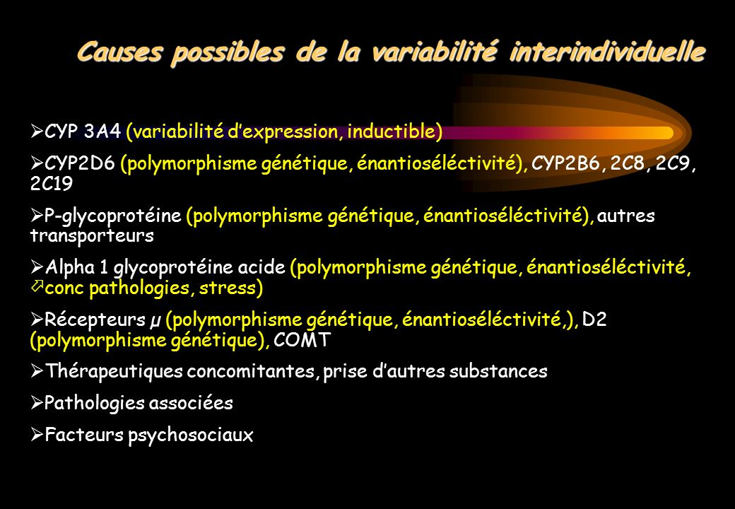 Causes possibles de la variabilité interindividuelle