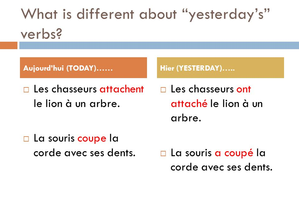 What is different about yesterday's verbs