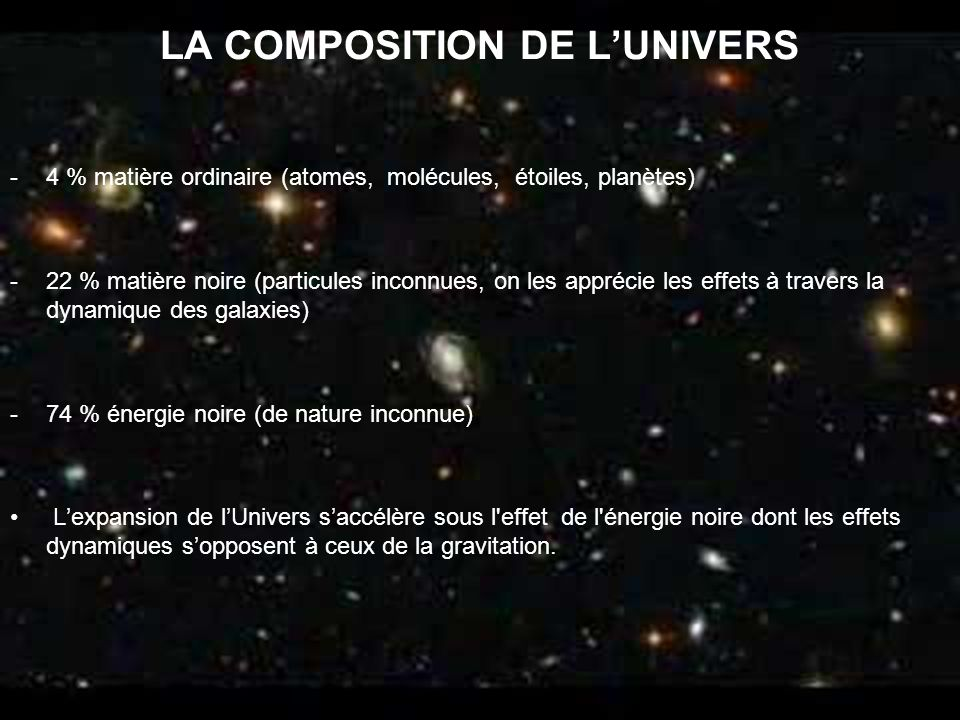 LA COMPOSITION DE L'UNIVERS