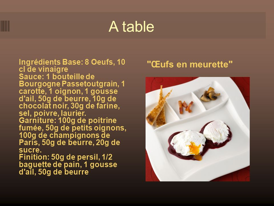 A table Œufs en meurette