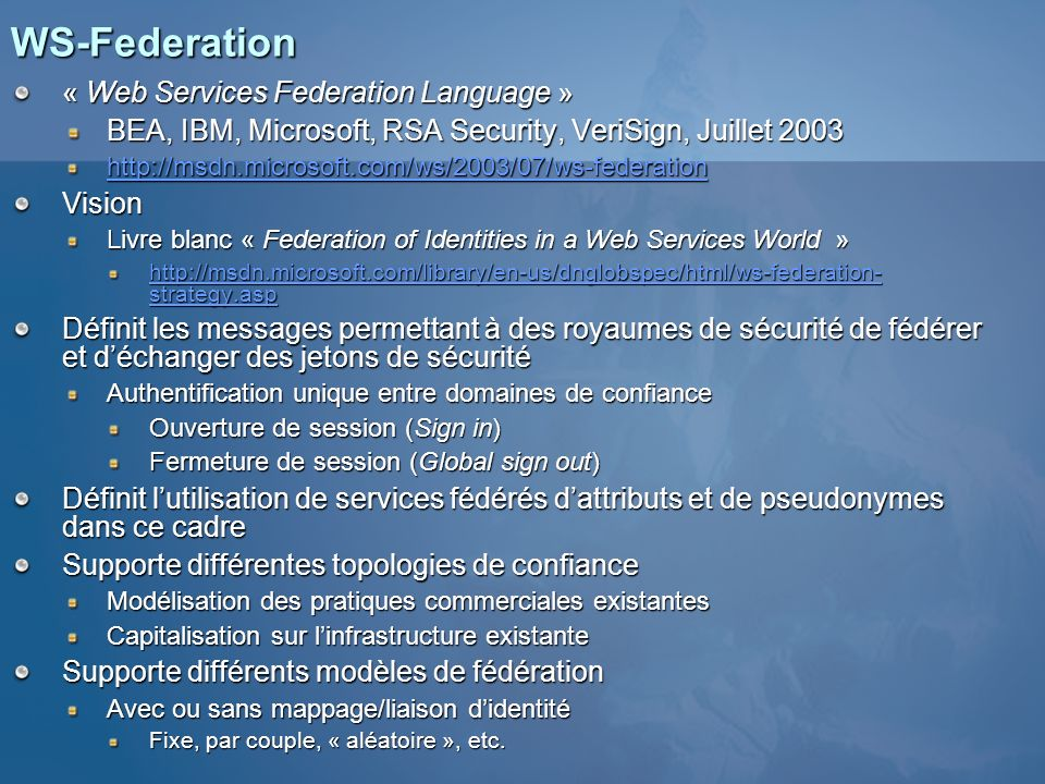 WS-Federation « Web Services Federation Language »