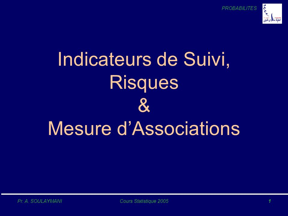 Indicateurs de Suivi, Risques & Mesure d'Associations