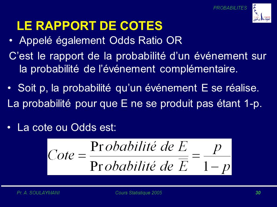 LE RAPPORT DE COTES Appelé également Odds Ratio OR