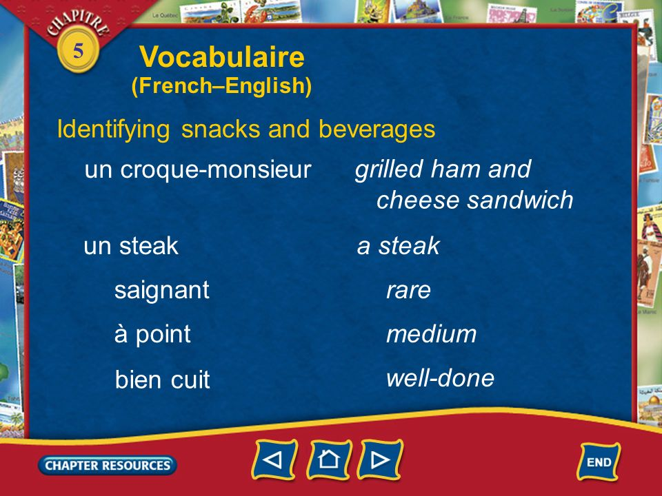 Vocabulaire Identifying snacks and beverages un croque-monsieur