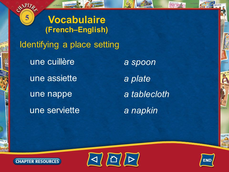Vocabulaire Identifying a place setting une cuillère a spoon