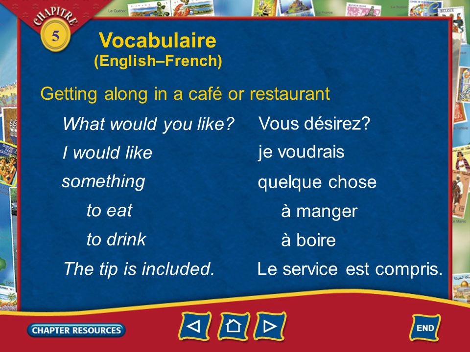 Vocabulaire Getting along in a café or restaurant What would you like