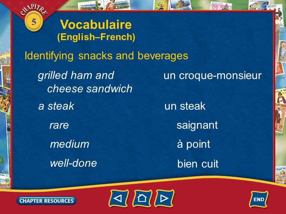 Vocabulaire Identifying snacks and beverages grilled ham and