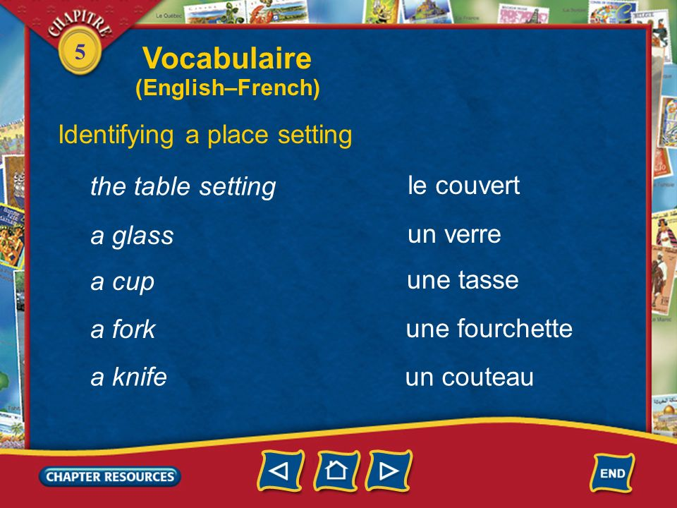 Vocabulaire Identifying a place setting the table setting le couvert