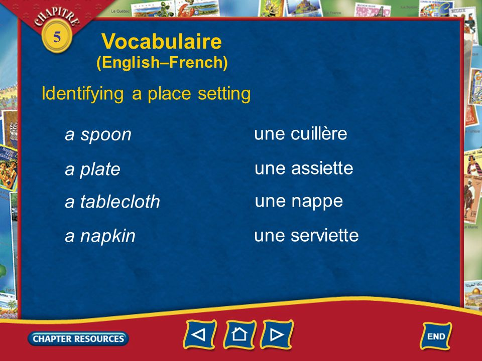 Vocabulaire Identifying a place setting a spoon une cuillère a plate