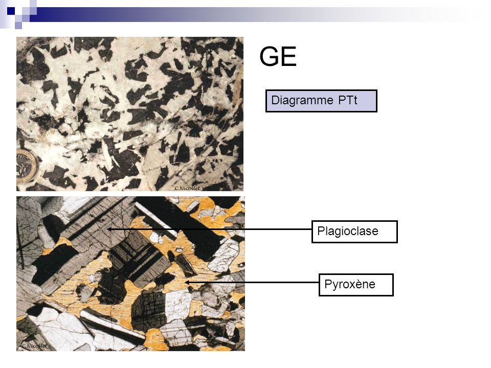 GE Diagramme PTt Plagioclase Pyroxène