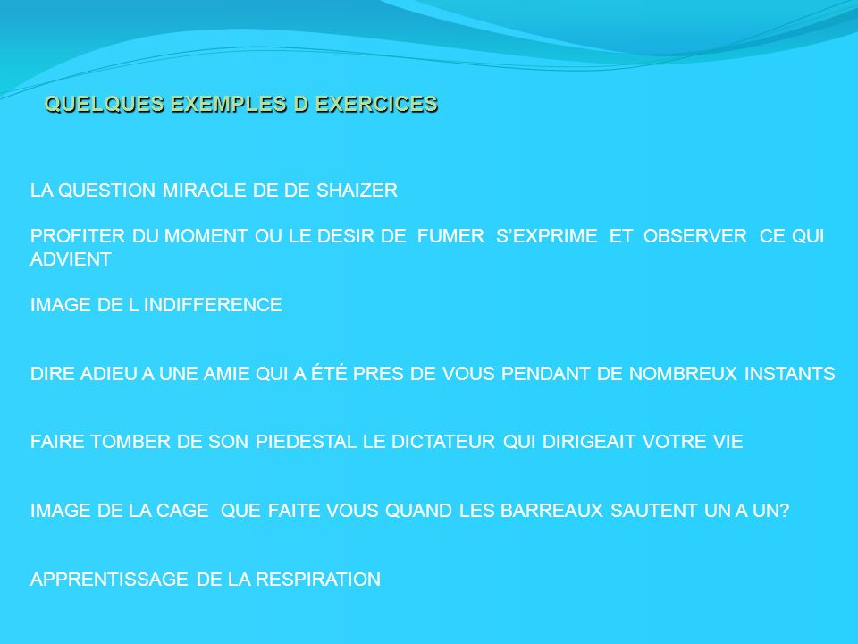 QUELQUES EXEMPLES D EXERCICES