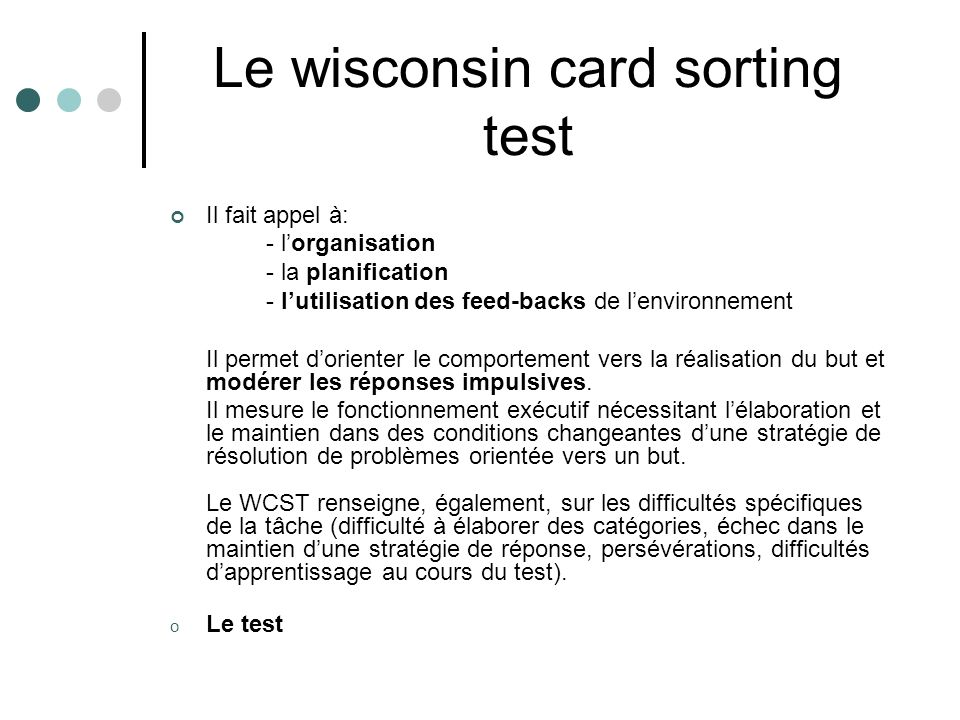 Le wisconsin card sorting test