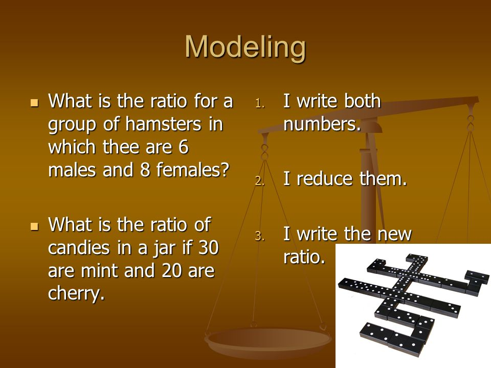 Modeling What is the ratio for a group of hamsters in which thee are 6 males and 8 females