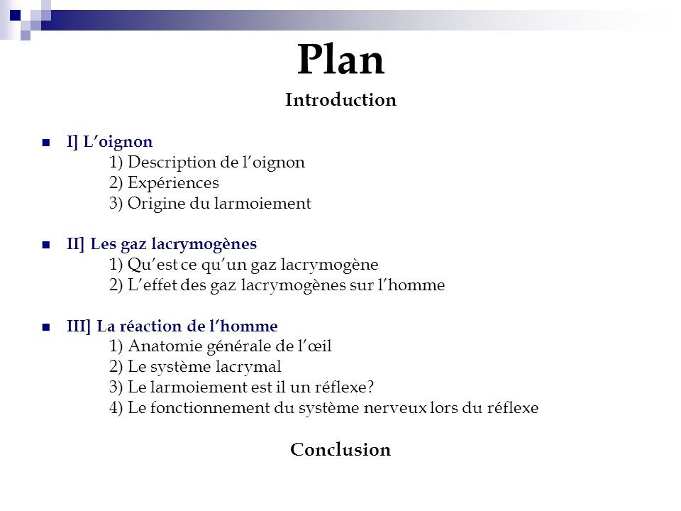 Plan Introduction Conclusion I] L'oignon 1) Description de l'oignon