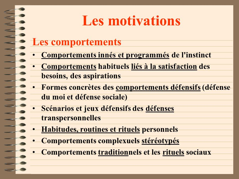 Les motivations Les comportements