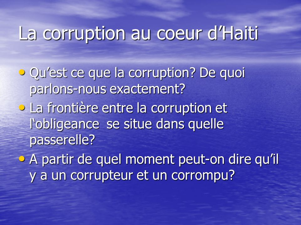La corruption au coeur d'Haiti