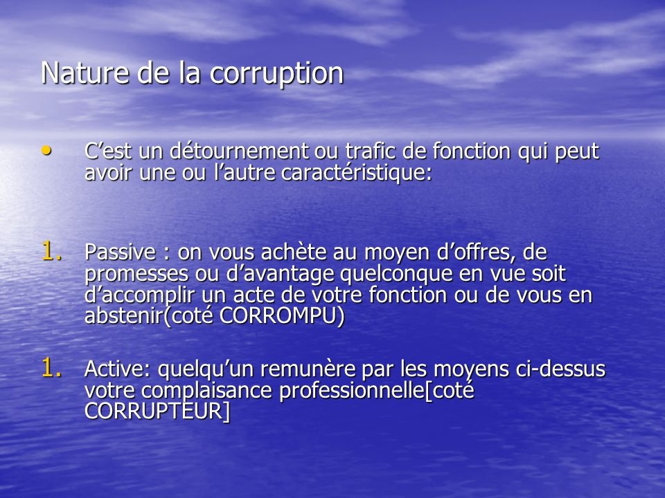 Nature de la corruption