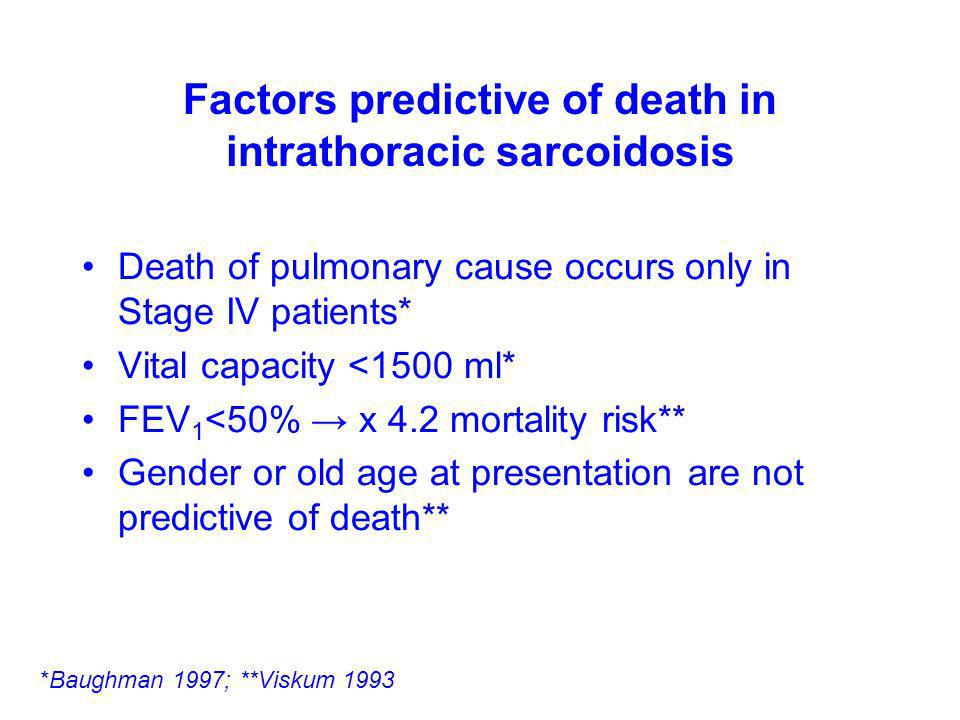 Factors predictive of death in intrathoracic sarcoidosis