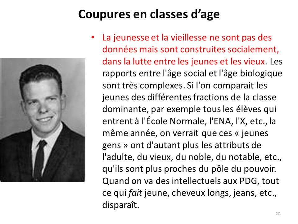 Coupures en classes d'age