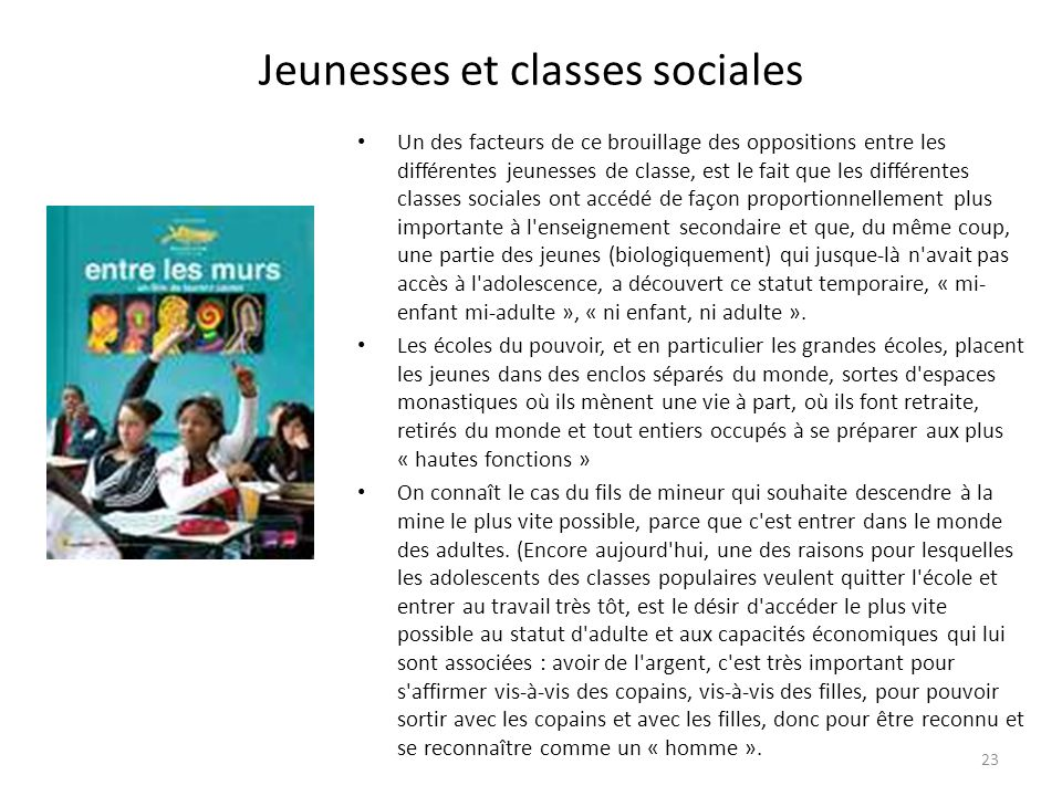 Jeunesses et classes sociales