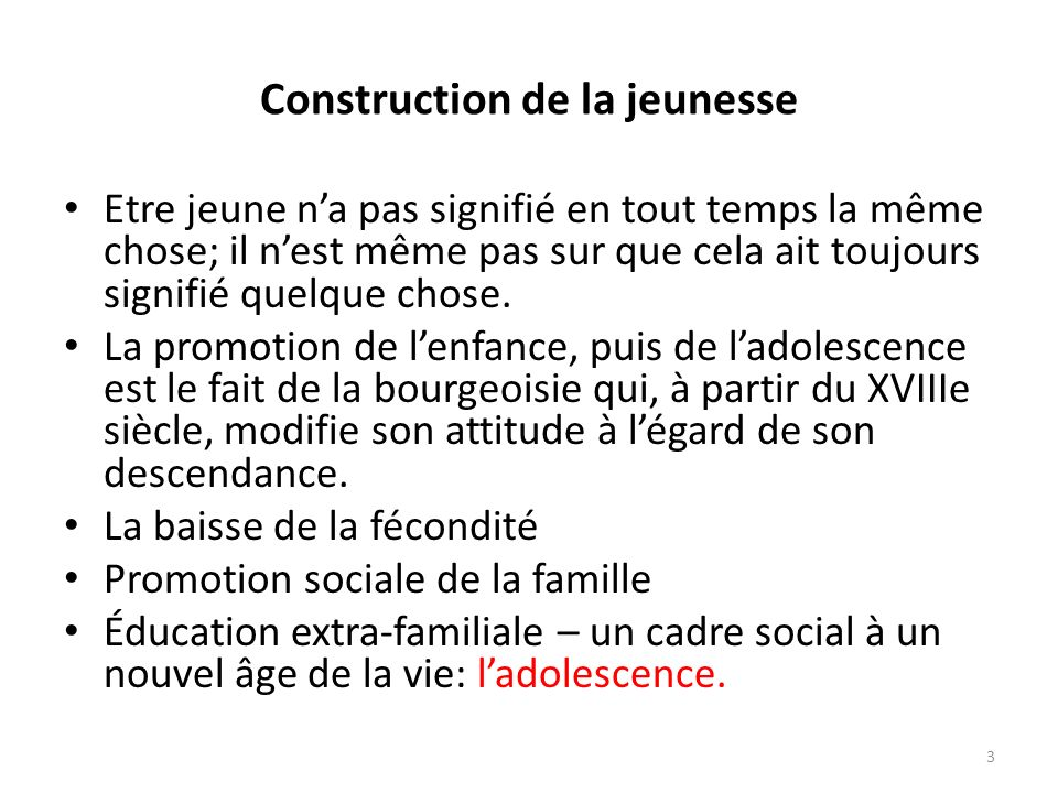 Construction de la jeunesse