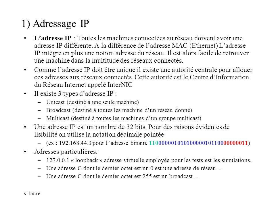 1) Adressage IP