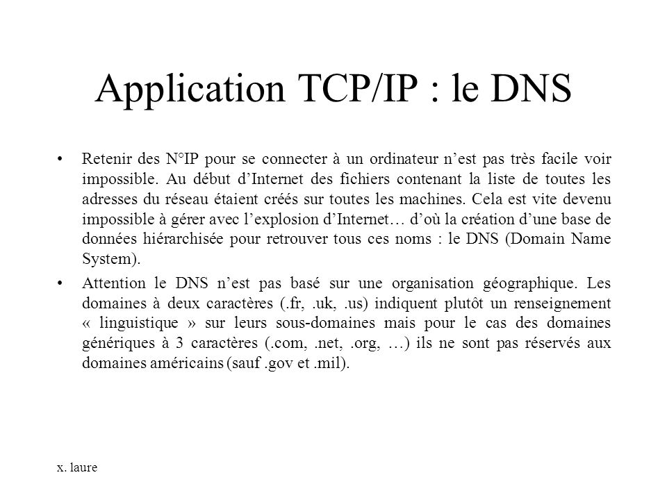 Application TCP/IP : le DNS
