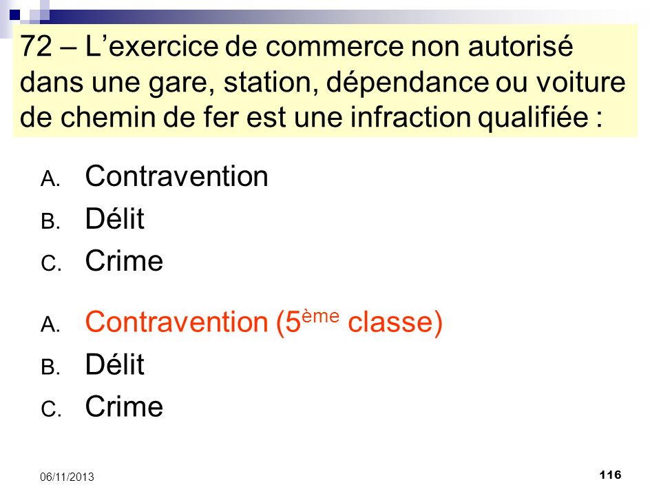 Contravention (5ème classe) Délit Crime
