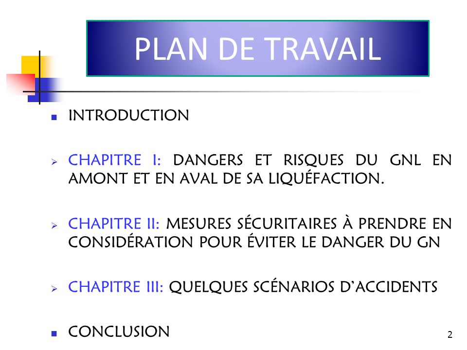 PLAN DE TRAVAIL INTRODUCTION
