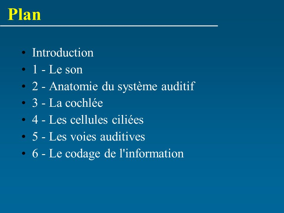Plan Introduction 1 - Le son 2 - Anatomie du système auditif